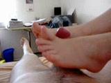 Foot job till he came