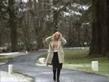 Blonde slut flashing in a public park