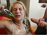 Blonde bombshell banged and cum sprayed on the face!