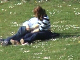 German couple making out in public