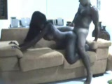 Sexy black bitch fucked in all positions on the couch