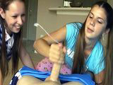Young sisters share cum