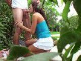 Two students having sex in public
