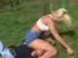 Girl is fighting against a dude