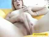 Blonde bitch milking a tiny dick