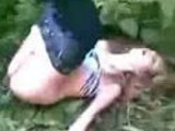 Drunk girl caught in bushes
