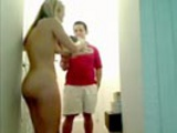 Naked chick orders pizza during live webcam show.