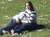 Girl caught jerking off her boyfriend at the park