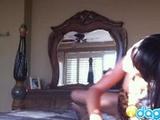 Wild ebony girlfriend fingering hard