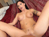Horny big-tit brunette slut girlfriend fucks hard stranger's dick