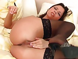 Brunette in lingerie teases and masturbates