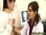 Asian woman doctor handjob