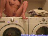 Girl rides washing machine