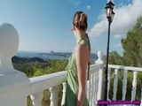 On The Balcony Two Young Slutty Lesbian Chicks Do Their Dildoes On The Sunbed