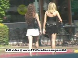 Ashley And Brianna Two Gorgeous Girls Walking To A Table Outside A Diner