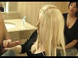 blonde gives handjob