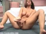 Pamela riding a brutal dildo