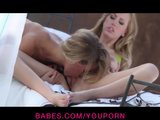 Beautiful blond girlfriends Nicole Aniston & Brett Rossi make love