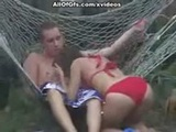 Fantastic sex action in hammock