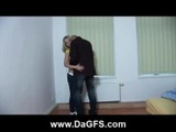 Skinny Blonde Drilled By Bald Guy