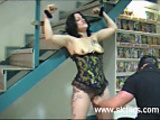 Amateur slut fist fucked in an adult store
