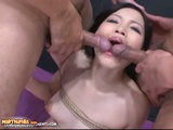 Tied Up Japanese Slave Giving Blowjobs In Threesome