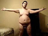 Fat guy shows his naked dancing skills on webcam