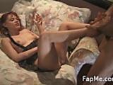 Hot chick gives a handjob and footjob