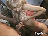 Sexy slut licks and wanks a white dick