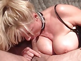 MILF in red crotchless stockings getting fucked hard