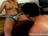 Wild domina makes her man suck a strapon