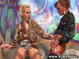 Classy glory hole lesbians sprayed with bukkake