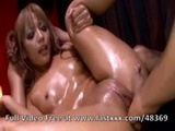 Hot wet Japanese threesome with creampie