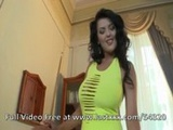 Busty brunette in yellow dress fucked on  ...