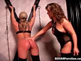 Sexy brunette ties hot blonde slut