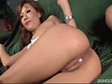 Kokoa shaved pussy filled with hot man goo