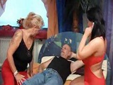 Blonde Granny Teaches Young Brunette How To Suck And Ride Cock