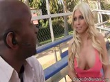 Busty Blonde Christie Stevens Eats Black Cock And Gets Drilled