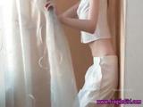 Skinny Brunette Teen Puts On A Striptease Show On Her Webcam