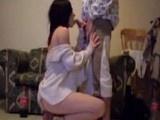 Sexy girl going down on her boyfriend