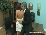 Sexy Red Fucks Old Cock In The Office