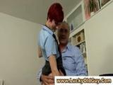 Redheaded schoolgirl suc ...