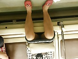 under her dress in the subway