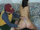 Slender brunette ass spanked in her sexy panties