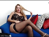 Mature lady in black lingerie