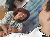 He slams sewing granny from behind