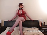Horny wanking material in a red latex dress