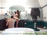Mea Melone homemade bathroom triple fuck
