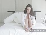 Australian Big Tit Angela White Masturbating in Bed