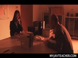 Seductive Japanese teacher making out with the school principal